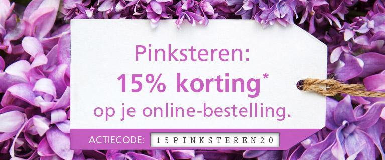 Pinksteren: 15% korting* op uw online-bestelling